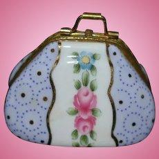 Vintage Porcelain Hinged Box Purse Miniature For Doll Royal Danube