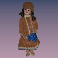 "Antique Doll Bisque Character MAO Sweet Girl 21"" Tall"