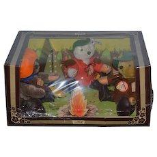 Vintage Steiff Teddy Bear Set Camping in Original Box THREE BEARS Jointed Mohair