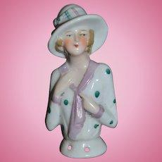 Old China Head Half Doll Fancy Hat