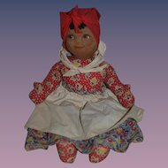 Old Doll Black Cloth Doll Painted Features Swivel Head Original Costume Mask Face