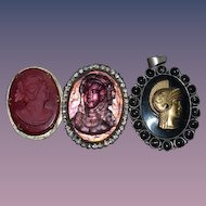 Old Cameo Set Different Stones Sterling Onyx Fancy For You or Dolls