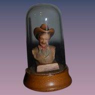 Vintage Anri Wood Cowboy Miniature Under Globe Carved Dollhouse Bust