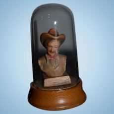 Vintage Anri Wood Cowboy Miniature Under Globe Carved Dollhouse Bust