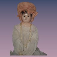 Antique Doll Rare Andreas Voit Papier Mache Glass Eyes Teeth Leather Body WONDERFUL