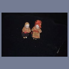 Old Miniature All Bisque Dollhouse Google Side Glancing Eyes Original Costume