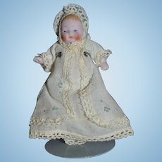Old Miniature All Bisque Doll Baby in Christening Gown Dollhouse