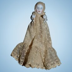 Antique Doll All Bisque Jointed In Wonderful Original Lace Gown & Bonnet Miniature Dollhouse