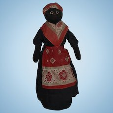 Old Black Cloth Doll Rag Doll Sewn Features