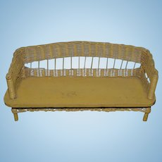 Old Doll Wood And Wicker Sofa Miniature Dollhouse