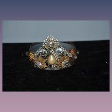 Old Doll Crown Fancy Rhinestones Beads Unusual