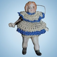 Old Doll All Bisque Miniature Dollhouse Jointed Crochet Outfit
