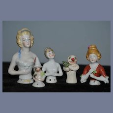 Antique Doll Half Doll China Head Lot Wonderful All Different