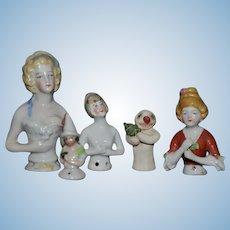 Antique Doll Half Doll China Head Lot Wonderful All Different