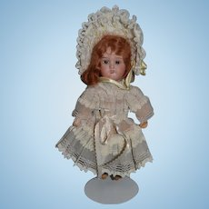 Antique Doll W/ Wonderful Dress & Bonnet Bisque Head Miniature Red head