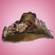 Artist Made Doll Bonnet Hat High Top Flowers Bows Sweet