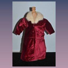 Old Doll Red Velvet Coat Jacket W/ Fur Collar