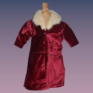 Old Doll Red Velvet Coat Jacket W/ Fur Collar