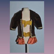 Vintage Doll Dress Jacket Fancy Velvet Satin Flower Trim French Doll