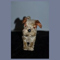 Old Mohair Wind Up Mechanical Mohair Dog Doll Friend