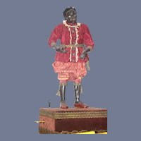 Antique Black Doll Automaton Carved Wood Large Mechanical Musical Glass Eyes WONDERFUL