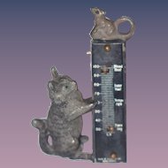Antique Doll Miniature Cat & Mouse Thermometer Metal