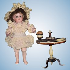 Antique Doll Miniature Bisque Head Glass Eyes Composition Jointed Body Dollhouse Barefoot Simon Halbig Kammer Reinhardt