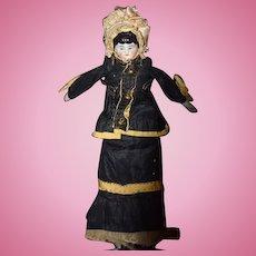 Antique Doll Miniature China Head W/ Wonderful Antique Clothing and Bonnet Dollhouse