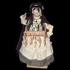 Antique Doll Wood Pegged Grodnertal Peddler Doll W/ MANY Miniature Wood Jointed Dolls WONDERFUL Frozen Charlotte