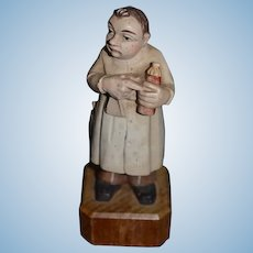 Old Wood Carved Doll Anri Doctor Figure Statue