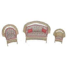 Artist Doll Miniature Dollhouse Wicker Furniture Sofa Chairs upholstered Signed BJM