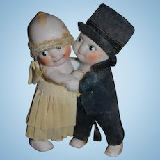 Antique Doll Kewpie Bride and Groom Kewpie W/ Crepe Paper outfit Huggers