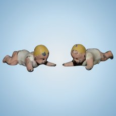 Old Doll Dolls Miniature Cast Iron Crawling Babies Dollhouse