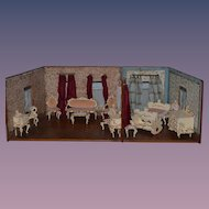 Antique German Doll Room Glass Windows W/ Furniture English Spielwaren Dollhouse Miniature Diorama
