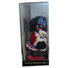 Miniature Doll Black Golliwog Artist Doll By Becky Wheeler In original Box with COA Sweet Holding Miniature Teddy BEar