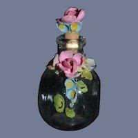 Old Doll Glass Perfume Bottle with fancy flowers Miniature W/ Fancy Dauber Dollhouse