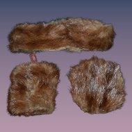 Antique Doll Fur Muff Stole Hat Set Fashion Doll Matching Set