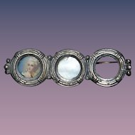 Old Italian Miniature Doll Frame Brooch Three Picture Frames Portrait Dollhouse