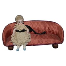 Old Doll Upholstered Fabric Sofa W/ Matching Foot Stool Miniature Dollhouse