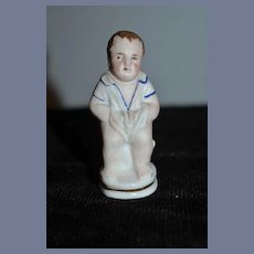 Antique Doll All Bisque Piano Baby Baby on Pot Miniature Dollhouse Figurine