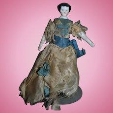 Old Doll China Head Miniature Flat Top Original Clothing Dollhouse