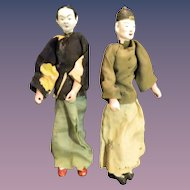 Old Papier Mache Oriental Doll Dolls Original Clothing