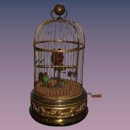 Antique French Bontems Automaton Singing Birds Musical Bird Cage LARGE Moving Birds Mechanical Wind Up