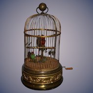 Antique French Bontems Automaton Singing Birds Musical Bird Cage LARGE Moving Birds Mechanical Wind Up