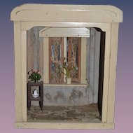Antique Doll German Wood Sun Porch Room Box Miniature Dollhouse Diorama