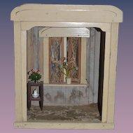 Antique Doll German Wood Sun Porch Room Box Miniature Dollhouse Diorama