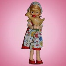Old Cottage Doll English Original Tags Cloth Doll W/ Duck