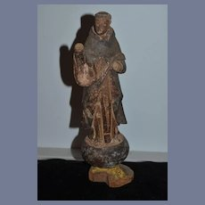 Old Wood Carved Doll Santos Figure Religious Icon Staute