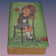Vintage Doll Big Sad Eyes Signed EVE Box Lee Eve Keane