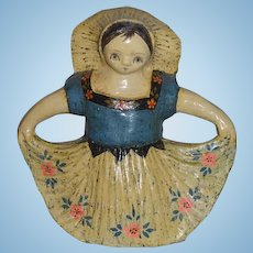 Vintage Mexican Folk Art Papier Mache Girl Armando Girl w/ Skirt Doll Statue